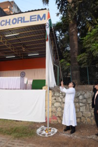 Republic Day - Our Manager hoists the flag.