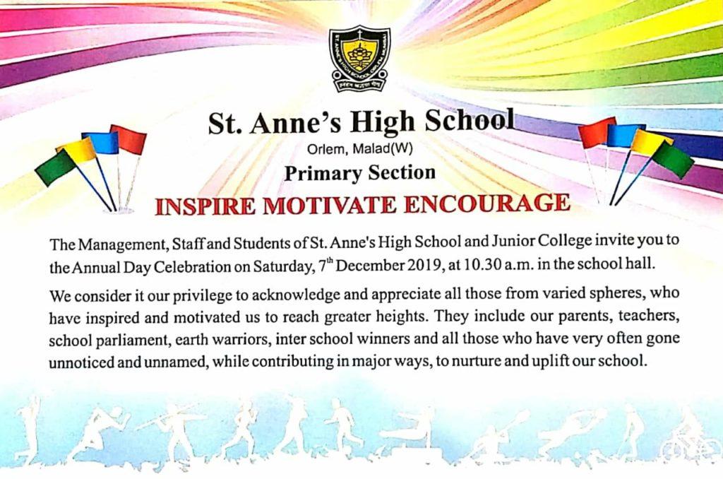 annual day invitation card  st anne's high school